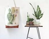 Cactus Shopper - Tote Bag CACTUS - 100% Organic Cotton - Watercolor Handpainted - Premium Quality - Cactus Print