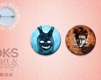 Donnie Darko & Frank the Bunny Badge Set > Original Illustrative Designs > Set of 2 Badges / Buttons / Magnets