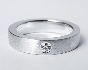 Sterling Silver Brushed Diamond Band - Diamond Band, Sterling Silver Diamond Ring, Sterling Diamond Band, Sterling Silver Diamond Band