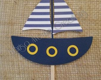 Nautical Cake Topper - Sailboat Cake Topper - Nautical Sailboat Cake Topper - Nautical Baby Shower Cake Topper - Nautical Party Decor