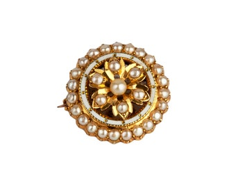 An Edwardian Gold, Seed Pearl and Enamel Locket Brooch