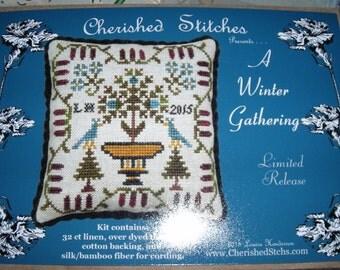 "Cherished Stitches 2015 Limited Release Cross Stitch Kit ""A Winter Gathering"""
