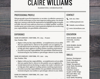 Resume / CV Template, Free Cover Letter, Instant Download, Mac or PC for