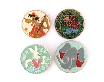 Animals, Cartoon characters, Pick yor pin,  Hare, Wolf, Bear, Elephant, Vintage collectible badge, Soviet Pin, Soviet Union, USSR, 1980s
