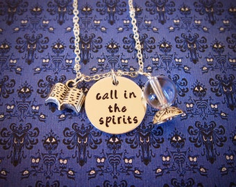 Haunted Mansion Necklace. Call in the spirits. Fortune Teller. Crystal Ball necklace. Séance. Halloween jewelry. Hand Stamped.