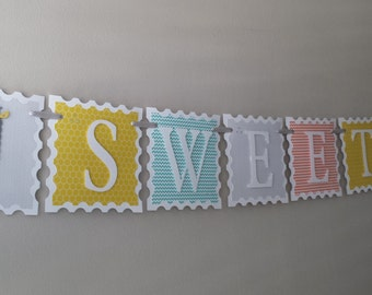 "Vintage ""SWEET BABY"" Giraffe Banner in Gray, Turquoise, Yellow and Orange Polka Dot, Honeycomb, and Chevron Patterns"