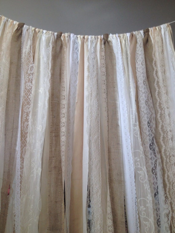 Burlap Curtains Ribbon lace Curtain Rustic Garland Boho