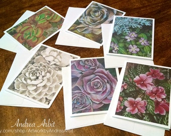 Garden Drawings - Pack of Six Blank A2 Notecards - Colored Pencil Art Prints