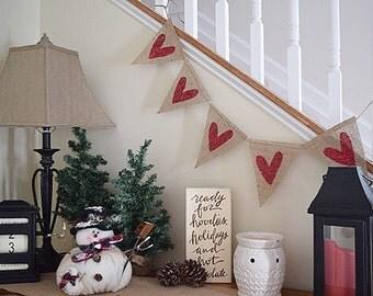 Valentine's Day decor- Heart Banner- Wedding- Valentines Banner- Rustic Wedding Decor- Photo Prop- Valentines Day Garland- Glitter Hearts