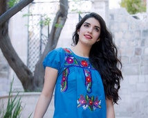 M-L Mexican blouse, Mexican blue shirt, Mexican embroidered blouse,