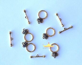 Gold CrownToggles for Necklaces & Bracelets (Set of 5)