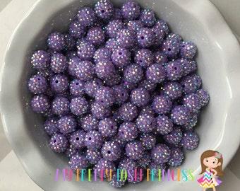 16mm Light Purple AB Rhinestones Acrylic Chunky Bubble Gum Beads *Choose How Many