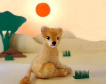 MADE TO ORDER - Needle Felted Sculptures - Lioness - Miniature Wool Lioness