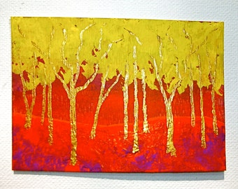 """Twilight Woods #166 (ARTIST TRADING CARDS) 2.5"""" x 3.5"""" by Mike Kraus"""