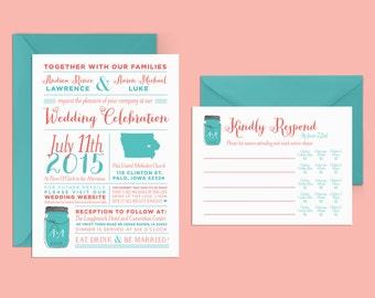 Fun Wedding Invitation, Infographic Wedding Invitation, Modern Wedding Invitation, Coral and Teal Wedding Invites, Whimsical Invitation