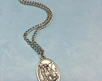 ST MICHAEL Necklace-Religious medal-thin or thick chain-religious gift-confirmation-graduation-Christian jewelry-soldiers-police-doctors