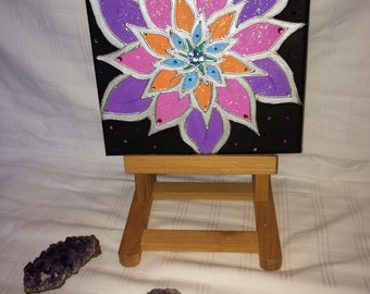 Original bright flower painting on canvas for  Children's Bedroom,Dining Room, Hallway,Living room