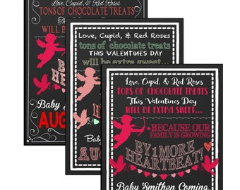 Valentine Pregnancy Announcement sign, unique valentine day pregnancy announcement chalkboard style, red pregnancy announce ID# PRGHDY05