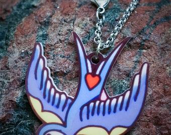 Swallow Acrylic Necklace. Swallow Necklace, Swallow Jewellery, Acrylic Jewelry, Laser Cut Acrylic, Bird Necklace, Tattoo Necklace