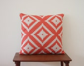 "18""x 18"" Decorative Pillow, Pillow Cover, Cushion Cover,  Geometric Cushion, Coral Orange Cushion, Scandinavian Minimalist Cushion 360"