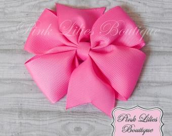 Hot Pink Hair Bow, Pink Pinwheel Hair Bow, Hot Pink Pinwheel Bow, Pink Basic Bow, Pink Pinwheel Hair Clip (Item #10221)