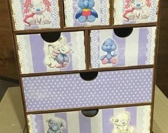 Purple and grey nursery decor, first jewelry box, new baby keepsake, first tooth box, baby treasure, teddy bear box, bunny box, twins box