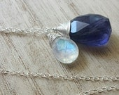 Rainbow Moonstone Necklace, Iolite Necklace, Sterling Silver Pendant, Wire Wrapped Crystal, Iolite Gem, Purple Stone Necklace