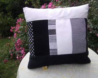 black white   Patchworkpillow - homedecor - decorative Pillow  - handmade Pillow - Quilt - recycled Pillow - upcycled Pillow
