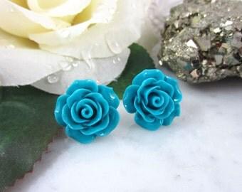 Teal Rose Studs - Dark Teal Flower Studs - Teal Flower Studs - Teal Earrings - Rose Earrings - Flower Earrings - Flower Studs
