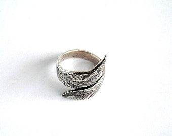 Sterling silver leaf ring, Leaf ring, band ring, leaf ring band, sterling silver leaf ring band, leaf jewelry, silver ring, wide leaf band