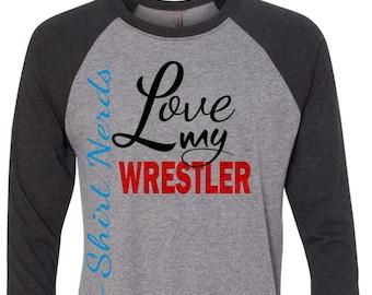 Wrestling Mom Shirt, Wrestling Girlfriend T-Shirt, Love My Wrestler