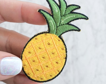 Pineapple Patch - Iron On - Embroidered Applique - Yellow - Fruit - Summer
