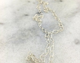 925 Sterling Silver Hammered Marquee Link Layering Chain with 925 Sterling Silver Nugget End Beads
