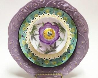 Lawn Ornaments - Glass Garden Flower - Garden Art - Plate Flowers - Yard Art - Glass Flowers - Outdoor Decor - Garden Decor - Home Decor