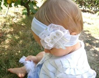 baby baby girl headband cotton headband cloud blue sky golden white organza silver handmade creation