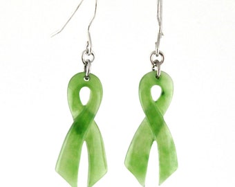 Canadian Nephrite Jade Awareness Ribbon Earrings, 2180