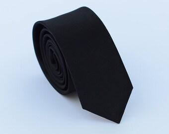 Black Silk Tie.Mens Black Neckties.Wedding Ties.Solid SKinny Ties.