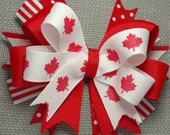 Canada bow Canada flag, Red Leaf Bow, white Boutique bow Canada Day, July 1st bow hair accessory, Maple Leaf bow, photo prop Canadiana Clip