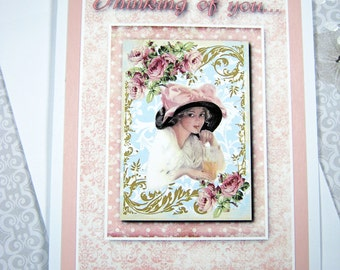 Thinking of you greeting card, Just Because, Friendship Card, Digital, Vintage clip art, for her, Pink and cream, All occasion card