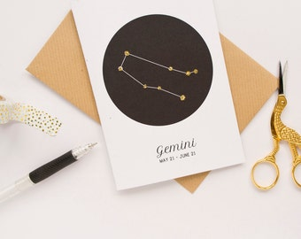 Gemini Star Sign Birthday Card / Constellation Card / Zodiac Sign / Birthday Card / Star Sign Constellation / 100% Recycled Materials