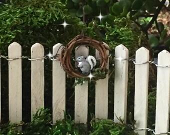 Fairy garden wreath, miniature wreath, fairy garden miniatures, miniature squirrel, fairy door wreath, dollhouse wreath, rustic wreath