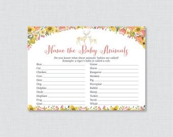 Deer Baby Animal Name Game - Baby Shower Baby Animal Name Game - Printable Download - Floral Woodland Deer Baby Animal Match Game - 0057