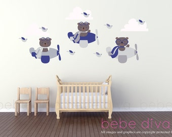 Bears Flying Wall Decal, Wall Decals Nursery, Wall Decal Nursery, Nursery  Wall Decal Part 84