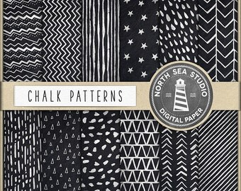 BUY 5 GET 3 FREE | Chalk Digital Paper | Hand Drawn Patterns | Chalkboard Texture | Chalk Patterns | Instant Download