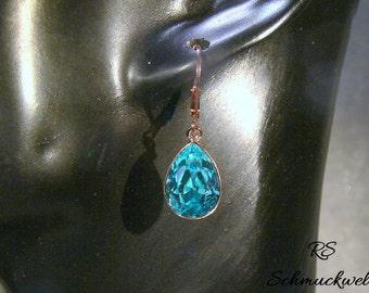 Rose gold plated earrings, crystal earrings, light turquoise Crystal, drop earrings, pear, earrings, Bridal earrings, bridesmaid