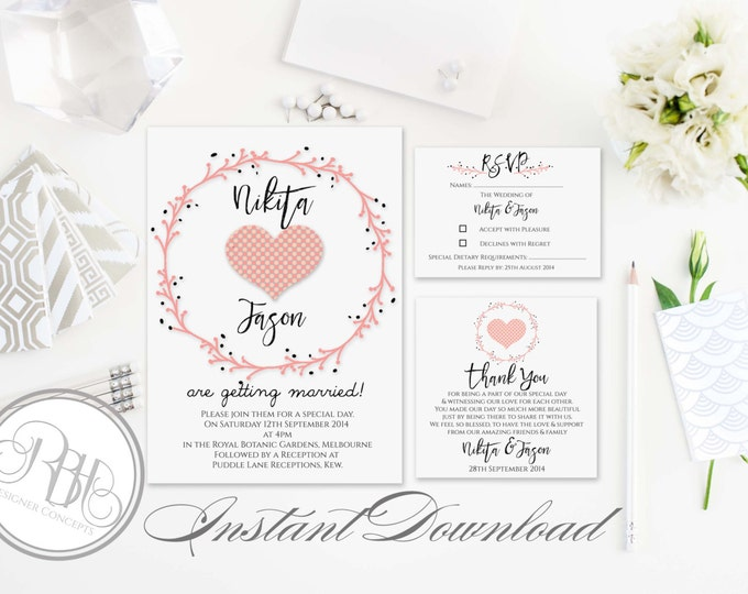 Rustic Invitation-Information Card-Reply Card-Templates-INSTANT DOWNLOAD-DIY Editable Text-Rustic pink wreath heart invite Package-Kymberley