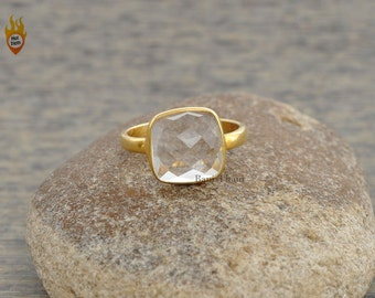 Crystal Quartz Cushion Faceted 10mm Micron Gold Plated 925 Sterling Silver Ring - #1253