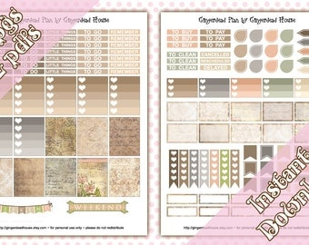 Antique Traveller Basic Vintage Brown and Grey Weekly Planner Sticker Kit