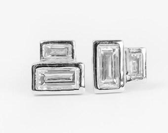 Baguette diamond earrings - geometric recycled diamond earrings - modern diamond studs - minimalist- Reclaimed diamonds by Anueva Jewelry