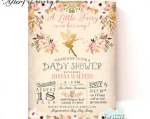 Fairy Baby Shower Invitation  // Enchanted Baby Shower // Vintage Peach Background  // Typography // Printable OR Printed No.986BABY